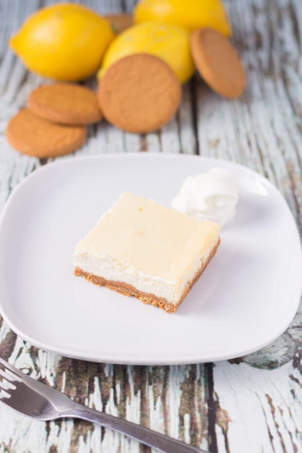 These easy lemon cheesecake squares have a delicious crunchy ginger base and a lemony cream cheese topping. They are the perfect light melt in your mouth dessert. The recipe makes 9 squares so it's great too for serving a larger number of people!