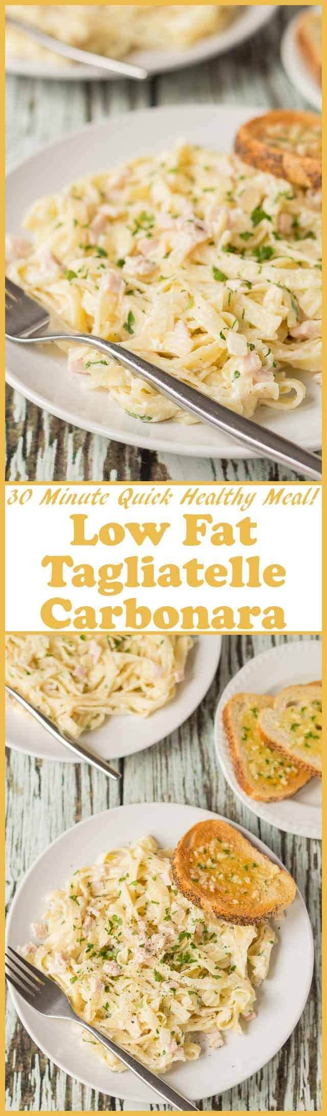 Low fat tagliatelle carbonara is a lighter version of the traditional classic Italian pasta dish. Ready in just 30 minutes, this healthier recipe is the perfect weeknight quick healthy pasta meal.