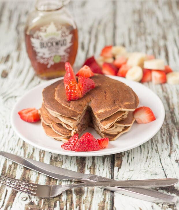 Strawberry Banana Valentines Pancakes