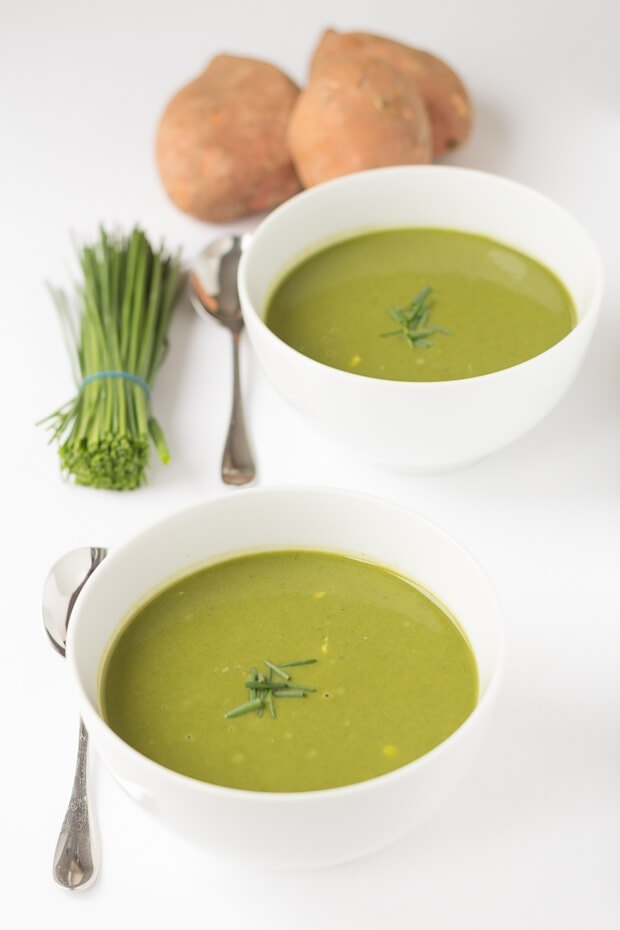 Sweet potato and spinach soup is a quick and easy, hearty, comforting soup. Nourishing, delicious and rich in flavour this healthy green soup is a perfect lunch soup for those winter soup moments!