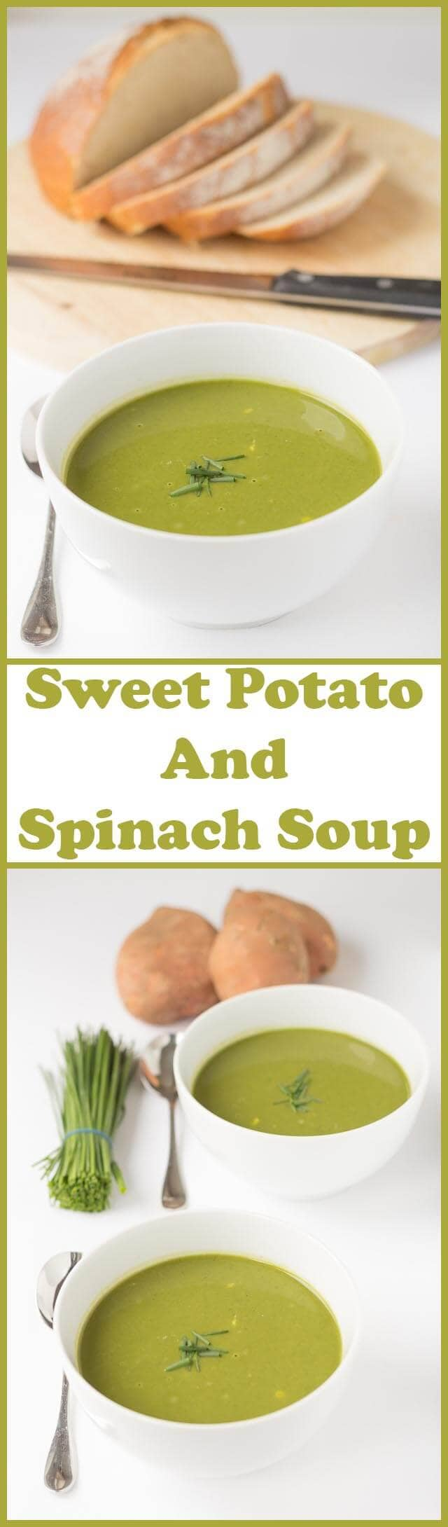 Sweet potato and spinach soup is a quick, easy, hearty and comforting soup. Nourishing, delicious and rich in flavour this healthy green soup is a perfect soup for those winter lunch moments!
