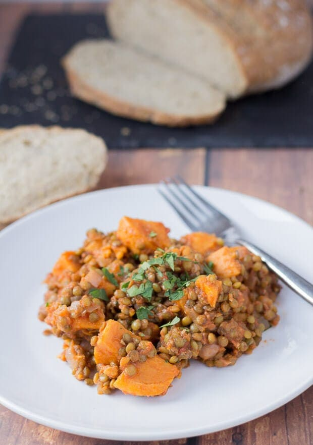 Green lentil and sweet potato stew is a fantastic, budget winter warmer. Comforting, filling and tasty all at the same time, this one pot wonder is just what you need to soothe away those seasonal colds and long dark winter nights. This stew will stick to your bones!