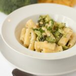 Rigatoni with broccoli and parmesan is a delicious and easy quick healthy pasta meal which serves 4 and is on the table in literally 20 minutes. With a low fat creamy cheese sauce made from crème fraîche this simple family dinner is guaranteed to be a winner all round!