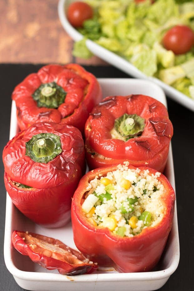 These vegetarian couscous stuffed peppers make for a delicious quick healthy meal. Also stuffed with tasty feta cheese and a selection of healthy ingredients these stuffed peppers make for an excellent light lunch, starter or dinner with accompanying salad.