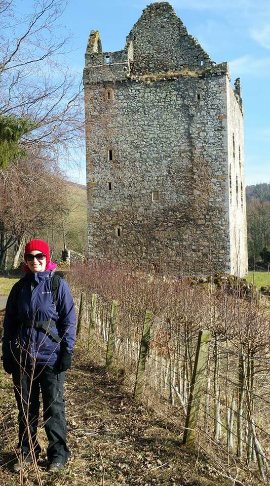 Lynne with Newark Castle in the background, Selkirk.