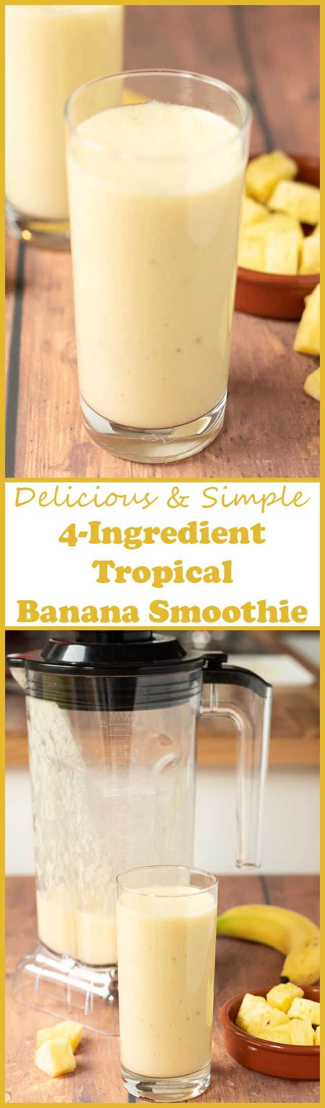 4-ingredient tropical banana smoothie not only tastes amazing but takes just five minutes to make. With a delicious creamy texture it's not only refreshing but also revitalising and rejuvenating. Start your day with a ray of sunshine thanks to this healthy banana smoothie recipe!