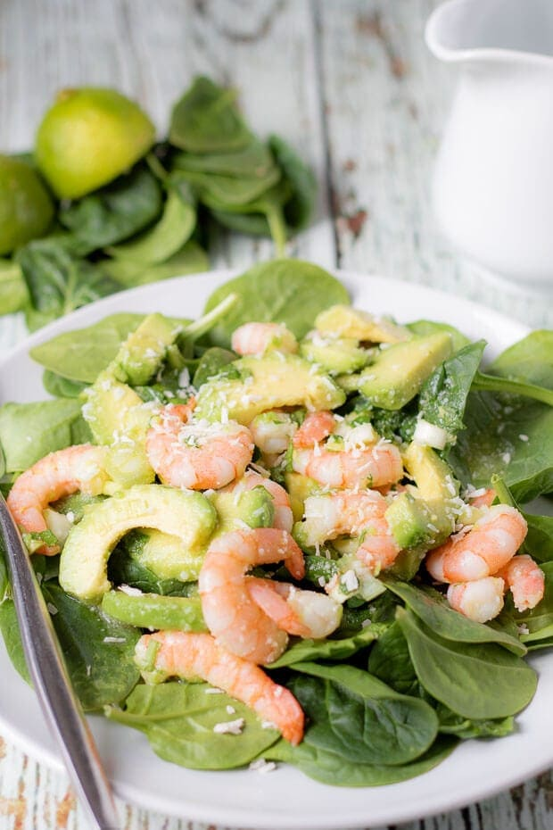 Avocado prawn and coconut salad is a delicious sweet tasting salad that's perfect as a healthy lunch or starter. It's packed full of flavour, made with minimal ingredients and has an amazingly tasty sweet honey coconut dressing to go with it. This perfect salad recipe proves that salads aren't boring!