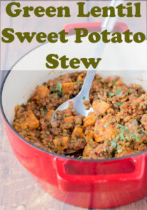 Casserole pot of delicious cooked green lentil and sweet potato stew ready to serve and eat.