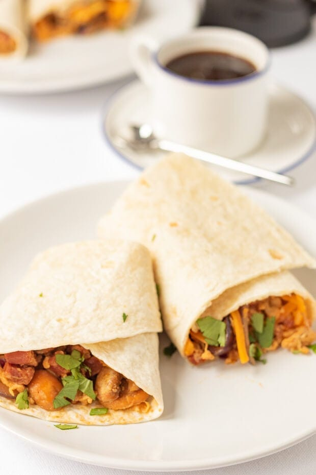 You'll love these delicious chorizo and egg breakfast burritos. They're quick to make and stuffed with bags of flavour from a tasty chorizo sausage, mushroom and egg combination. These are your reason to get up at the weekend and they're perfect as a brunch, lunch or dinner option too!