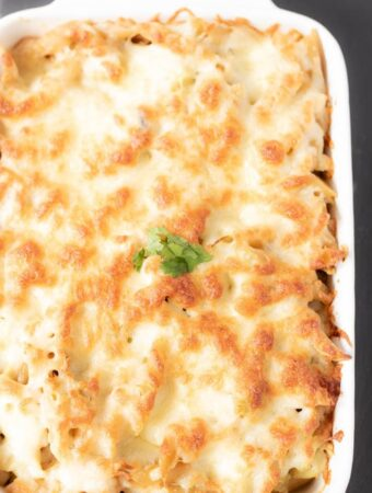 Creamy Chicken, Leek and Mushroom Pasta Bake