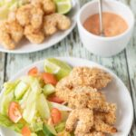 This healthy baked coconut prawns with dipping sauce recipe is great for sharing with friends, can be served as an appetiser, or it could even be a main family meal too. Quick and simple to make and with no frying involved this versatile tasty recipe is also budget friendly!