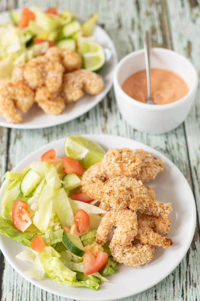 Healthy Baked Coconut Prawns with Dipping Sauce