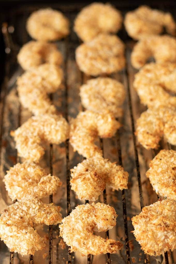 healthy baked coconut prawns cooked on grill pan after baking