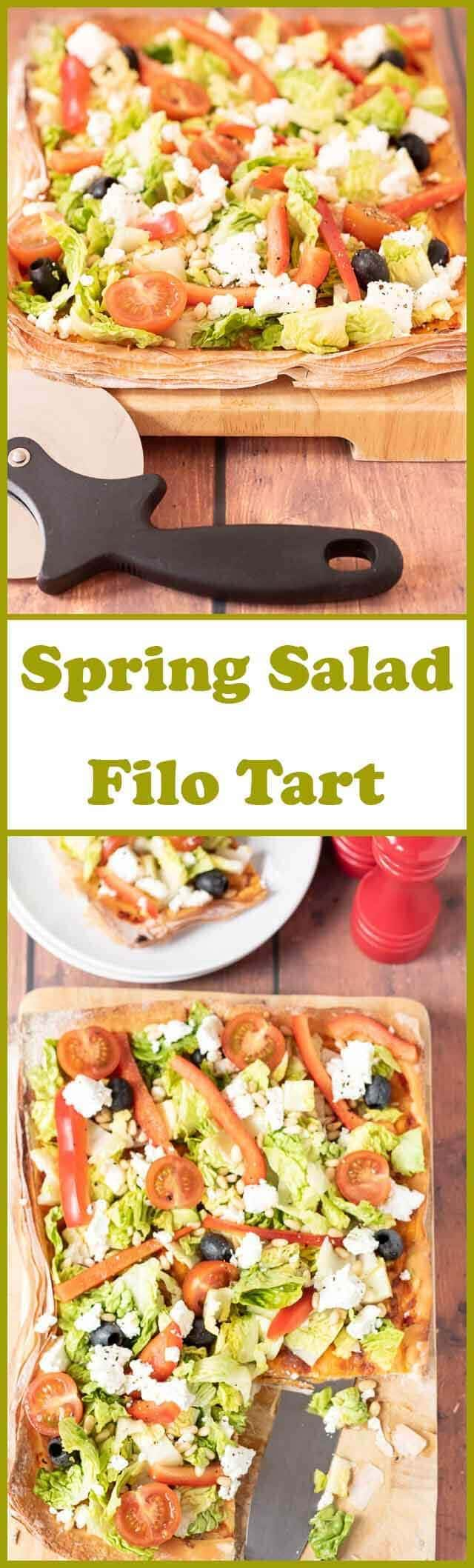 Spring salad filo tart is packed full of delicious fresh seasonal flavours. It's really easy to make, low cost and perfect if you're short on time. This family sharing recipe is made from filo pastry so has that wonderful flaky and satisfying crunch when you bite into it!