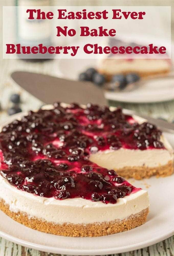The easiest ever no bake blueberry cheesecake is the only blueberry cheesecake you will ever need. This is as quick and easy as cheesecake recipes get. No matter what the season is this cheesecake is perfect for all occasions! #neilshealthymeals #recipe #dessert #cheesecake #nobake #nobakecheesecake #blueberry #blueberrycheesecake