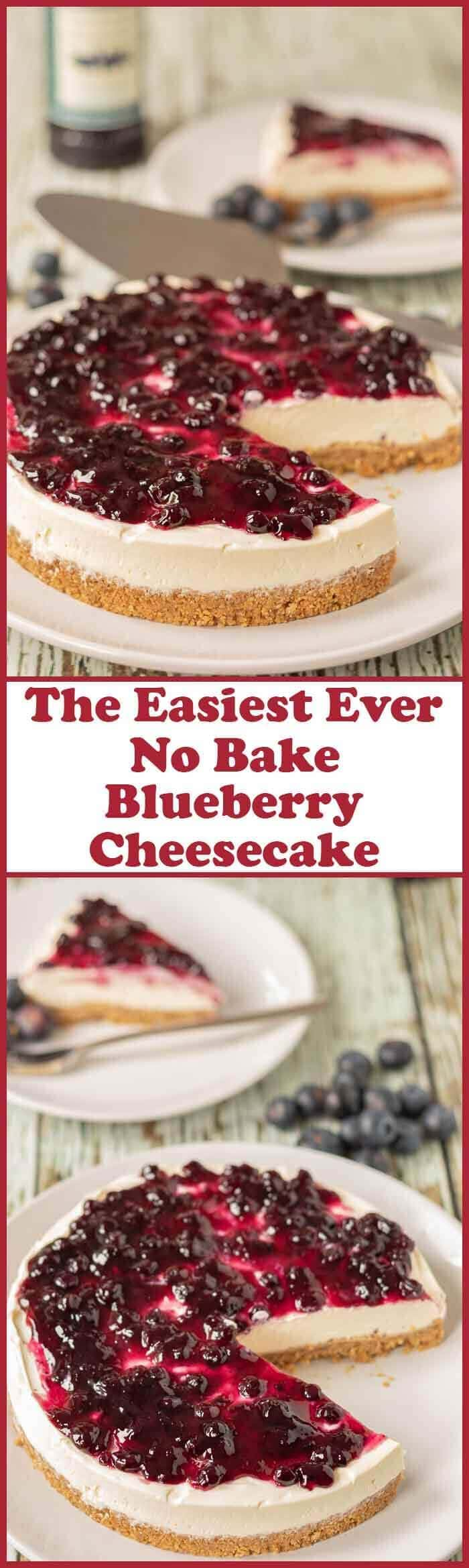 The easiest ever no bake blueberry cheesecake is the only blueberry cheesecake you will ever need. This is as quick and easy as cheesecake recipes get. No matter what the season is this cheesecake is perfect for all occasions!