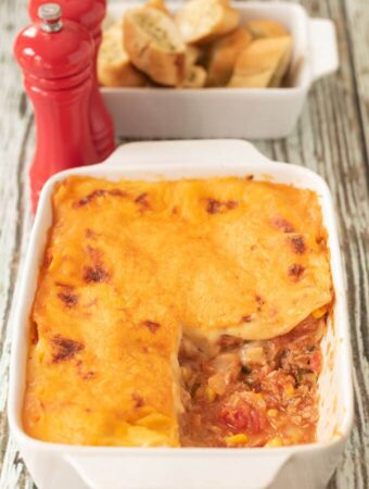 Tuna sweetcorn lasagne is perfect for a delicious and comforting midweek family meal. This healthy red meat free alternative is a quick and easy way to satisfy the whole family with minimum cost and mostly store-cupboard ingredients.
