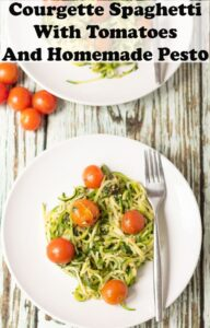 Birds eye view of a plate of courgette spaghetti with tomatoes and homemade pesto with a fork to the side. Pin title text overlay at top.