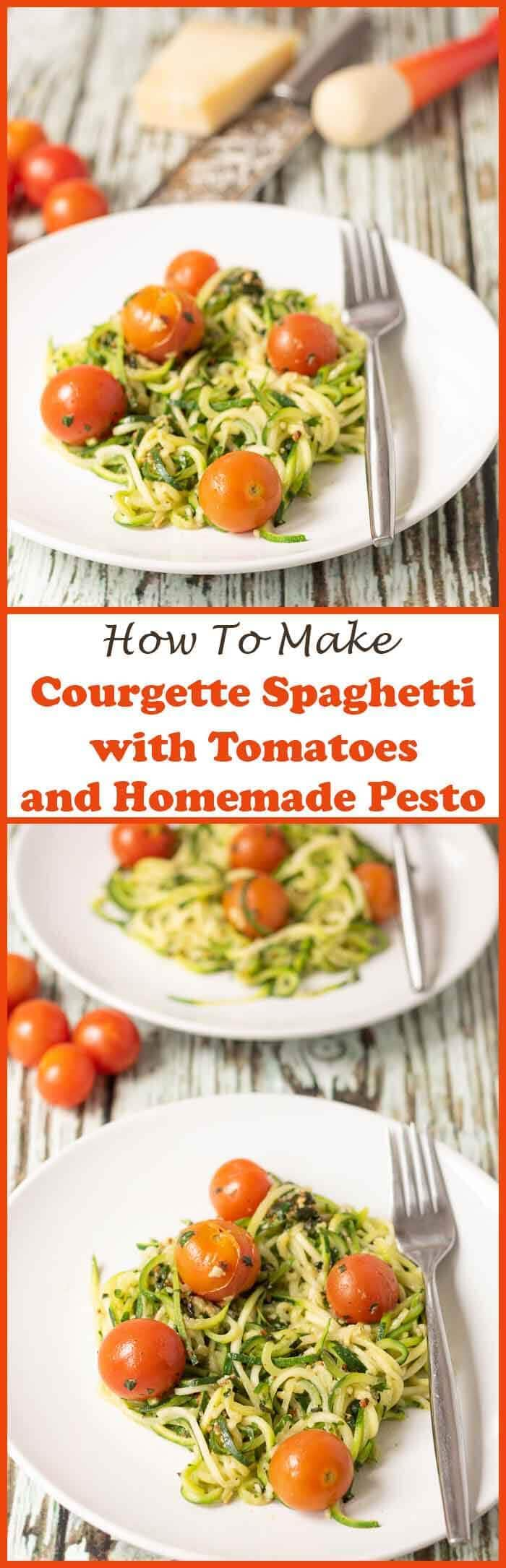 Courgette spaghetti with tomatoes and homemade pesto is a delicious and simple recipe. It's perfect for beginners to get to grips with how to make courgette spaghetti. You'll soon be using that spiralizer like professional in no time at all!