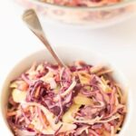 Easy healthier coleslaw is the perfect side for your BBQ's and salads. Made with a lower calorie dressing this creamy coleslaw serves up to 8 people. It still has the same great taste as classic full fat coleslaw too!