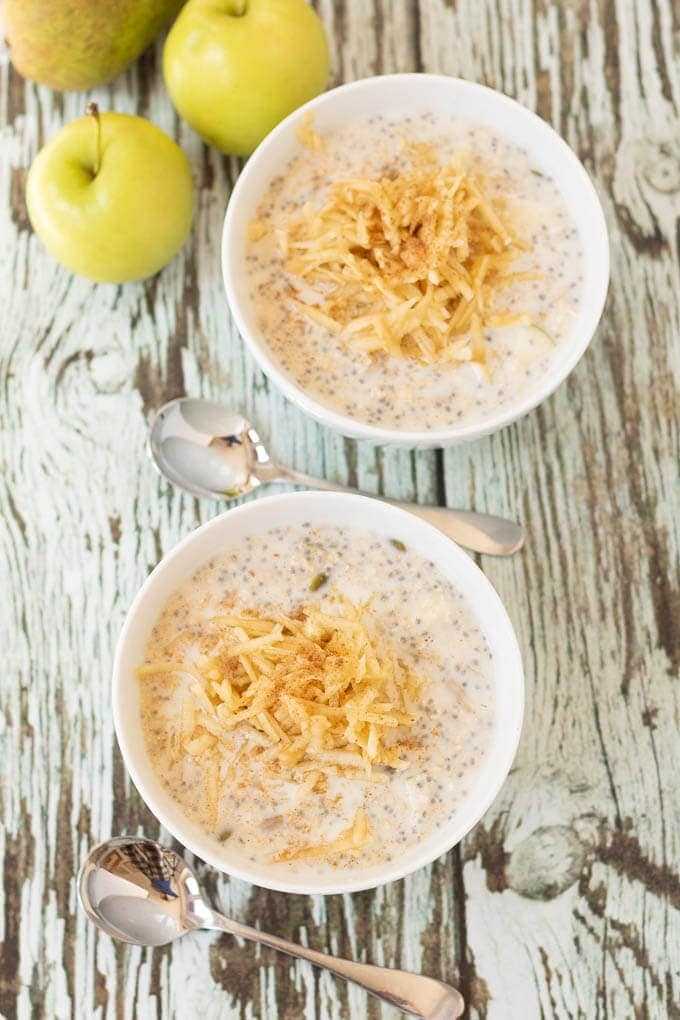 Healthy apple and pear bircher muesli is a delicious easy to make ahead breakfast. Just soak the oats overnight in the fridge for a great start to your day!
