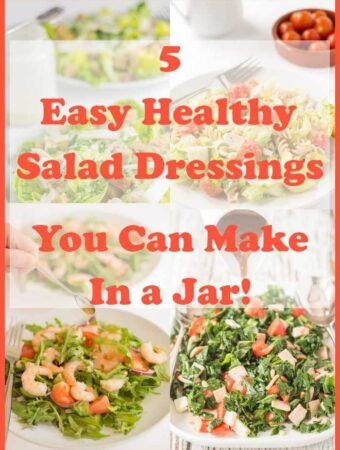 How to make your own salad dressings in a jar. Easy to make salad dressings. Here I share my favourite 5 easy healthy salad dressings you can make in a jar.