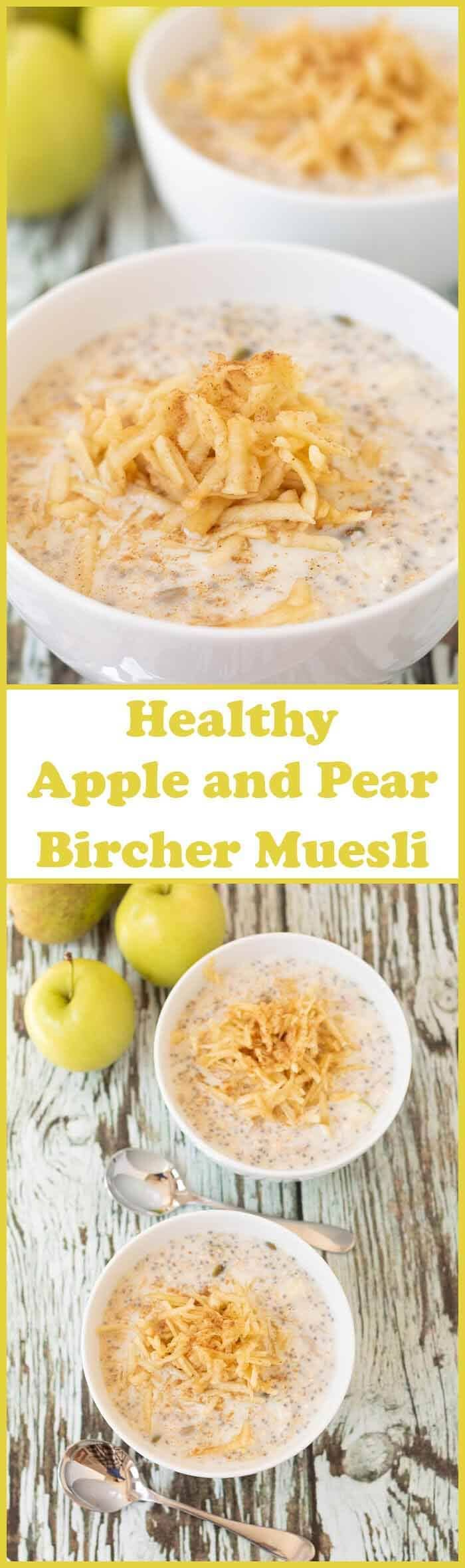 Healthy apple and pear bircher muesli is a delicious easy to make ahead breakfast. It takes just 5 minutes to prepare the evening before. Then soak the oats overnight in the fridge and add your pear and apple in the morning!