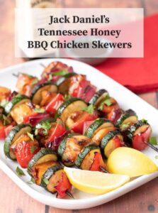 Succulent and tender these Jack Daniel's Tennessee honey BBQ chicken skewers are sure to be a winner at your next BBQ. This easy to make BBQ sauce marinade makes the chicken taste sweet and delicious!