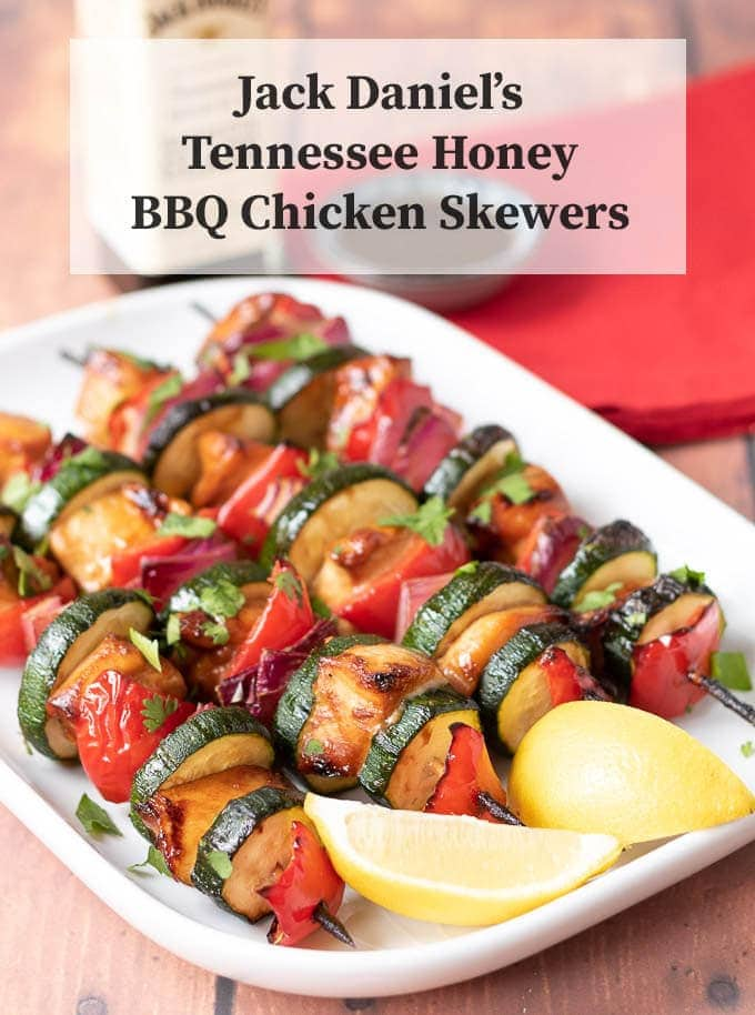 Succulent and tender. These Jack Daniel's Tennessee honey BBQ chicken skewers are sure to be a winner at your next BBQ. But can also be done on the grill too! This easy to make BBQ sauce marinade makes the chicken taste sweet and delicious! #neilshealthymeals #bbq #chicken #skewers #bbqchicken #bbqchickenskewers