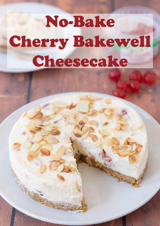 This no bake cherry bakewell cheesecake recipe is really easy to make. It has all the classic flavours of a bakewell tart and is perfect for entertaining! #neilshealthymeals #recipe #cheesecake #cherrybakewell #cherrybakewellcheesecake #dessert #pudding #bakewell