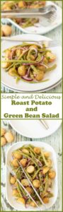 Roast potato and green bean salad is a simple and delicious salad. It's great served warm or cold or even as a side to go with your favourite main dish. It's just perfectly cooked roast potatoes and green beans tossed in a fresh tasting zingy garlic vinaigrette dressing. The quick dressing being one which is made from basic store cupboard ingredients. This is a great tasting budget recipe to make!