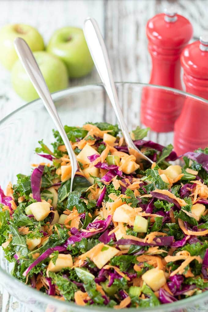 Creamy kale coleslaw with apple is a delicious and healthy alternative to traditional coleslaw. And it's perfect at any time of the year!