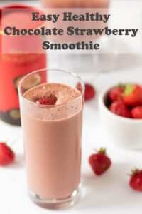 Easy chocolate strawberry smoothie is a delicious low-fat low calorie refreshing smoothie. This quick and easy healthy smoothie still tastes wickedly indulgent though! #neilshealthymeals #chocolate #strawberry #smoothie #recipe