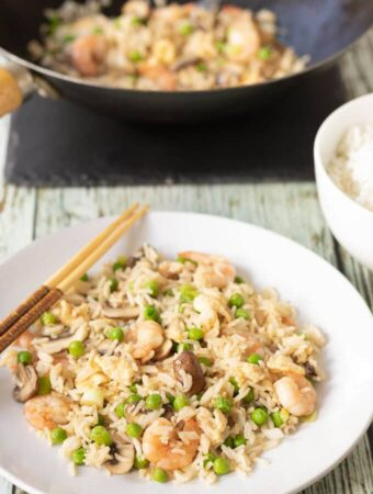 Leftover Rice Prawn and Mushroom Stir Fry