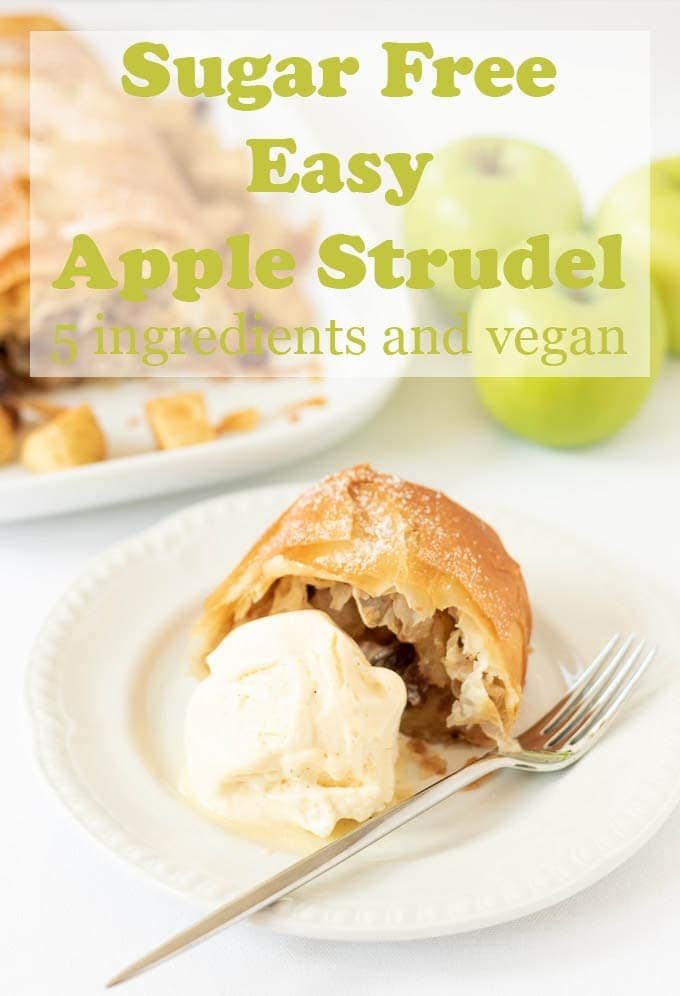 Sugar free easy apple strudel has all the sweet flavours of a traditional strudel dessert even though it's sugar free. You'll love this simple to make delicious healthy apple strudel recipe. And because this apple strudel recipe is made with filo pastry it's suitable for vegans too! #neilshealthymeals #recipe #dessert #apple #strudel #applestrudel