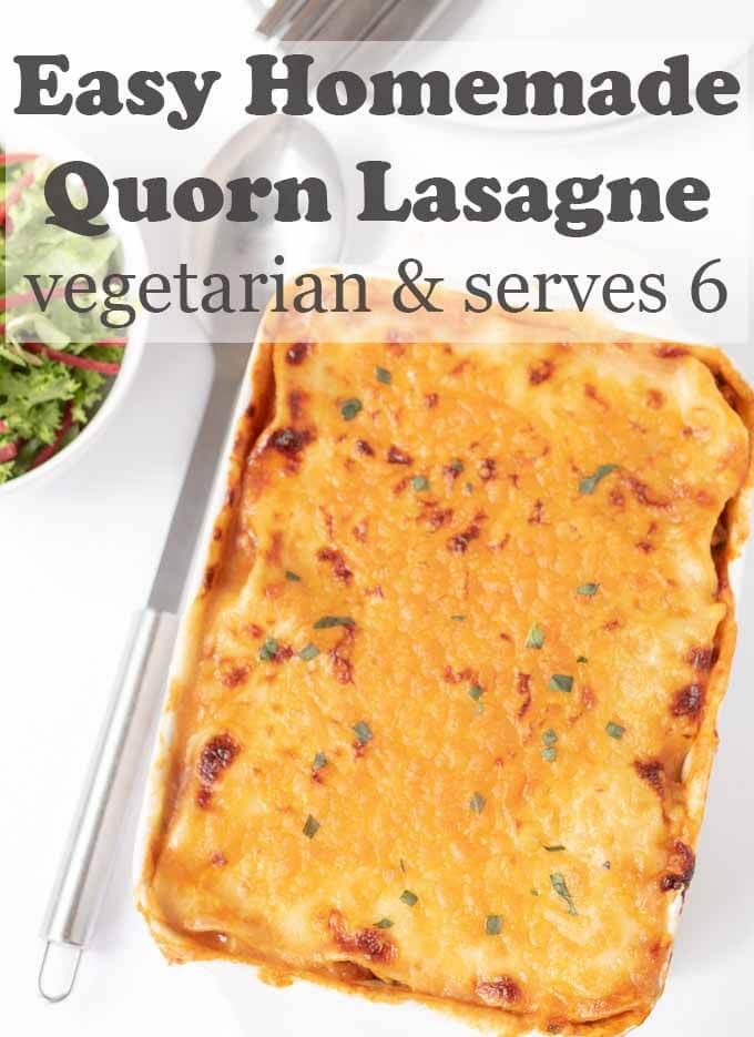 Easy homemade quorn lasagne is delicious. This vegetarian quorn mince recipe serves up to six people. Making it a great meat free meal for entertaining. #neilshealthymeals #recipe #easy #homemade #quorn #lasagne #quornlasagne #dinner