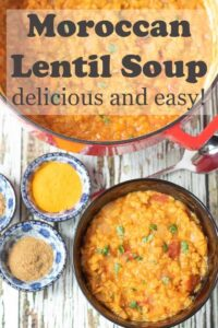 Moroccan lentil soup is a delicious and easy red lentil vegan soup recipe. This hearty healthy soup is flavoured with the popular spices of Morocco.