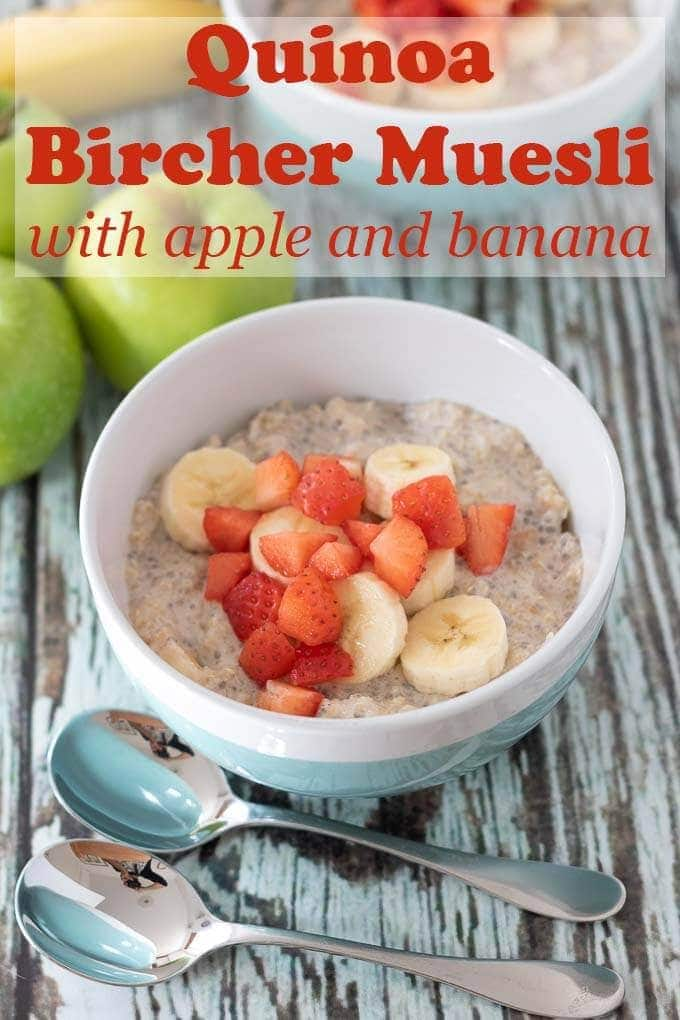 Quinoa bircher muesli with apple and banana is a delicious and healthy breakfast recipe that's made the night before making your morning stress free and easy. You'll love this simple alternative to overnight oats recipe. #neilshealthymeals #recipe #breakfast #quinoa #bircher #muesli #overnightoats