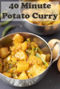 40 minute potato curry is a delicious easy vegan curry recipe. You'll love this healthy filling dish. It's perfect as a weeknight quick hearty meal! #neilshealthymeals #recipe #potato #curry #easy #vegan #healthy