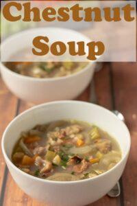 Two bowls of chestnut soup one in front of another. Pin title text overlay at top.