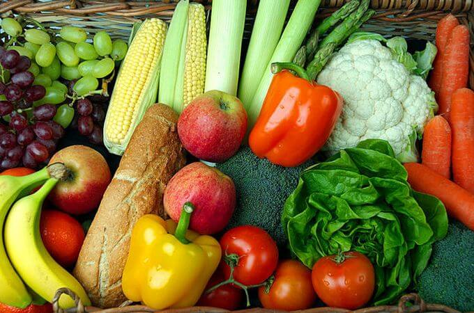 An assortment of fruits and vegetables.