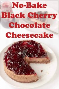 No-bake black cherry chocolate cheesecake is a deliciously decadent but easy to make cheesecake recipe. This is the ideal holiday dessert! #neilshealthymeals #recipe #grahamcrackers #nobake #blackcherry #chocolate #cheesecake #holidays