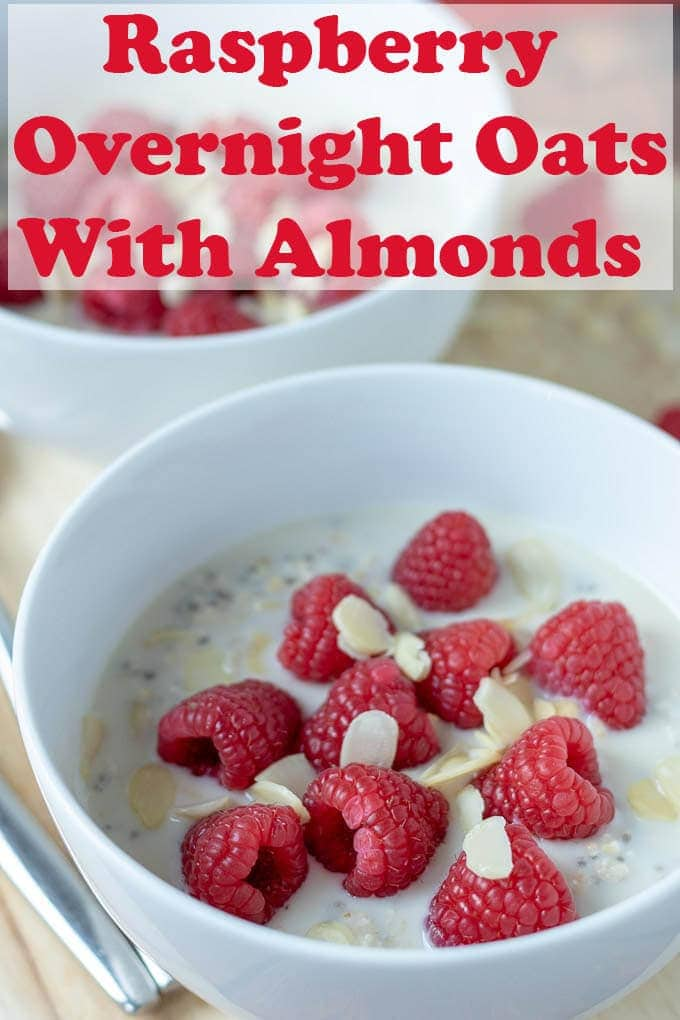 Raspberry overnight oats with almonds is an easy make-ahead breakfast or snack recipe. Make this tonight and have an easier healthier day tomorrow! #neilshealthymeals #recipe #breakfast #raspberry #overnightoats