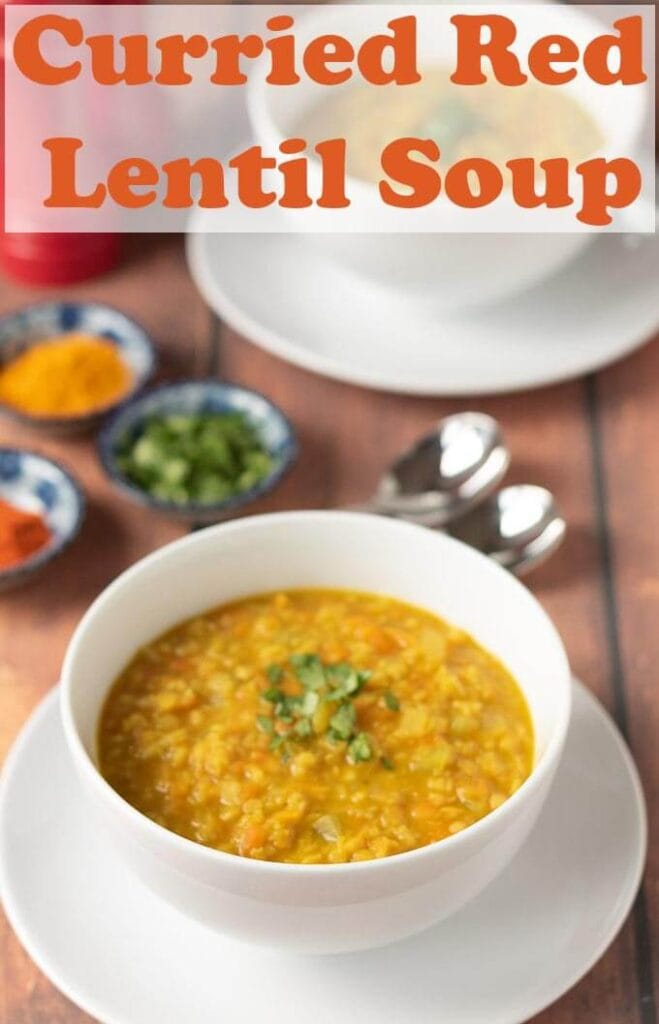 Curried red lentil soup is a tasty soul warming soup that can be on the table in just one hour! This heart healthy soup serves 4 and is easy to make too! #neilshealthymeals #recipe #soup #healthy #lentil