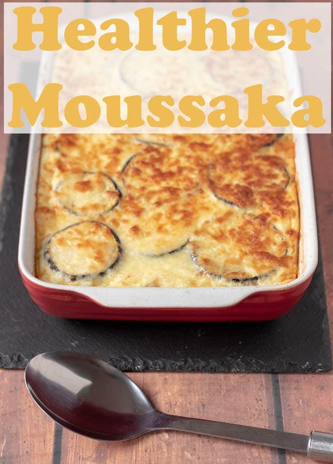 Healthier Moussaka is a delicious lower calorie version of the classic Greek dish. This healthy recipe is still rich-tasking but light, healthy and low carb. Ideal if you're weight conscious! #neilshealthymeals #recipe #healthy #moussaka