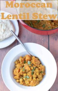 Moroccan lentil stew is a delicious heart healthy and delicately spiced vegetarian dish. This easy one pot recipe is a great quick healthy filling meal!