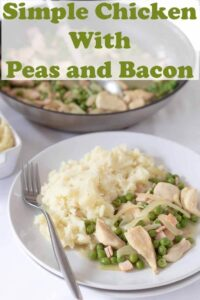 Simple chicken with peas and bacon is a delicious and easy one pan dinner recipe. This budget meal serves 4 and can be on the table in less than an hour! #neilshealthymeals #recipe #chicken #peas #bacon