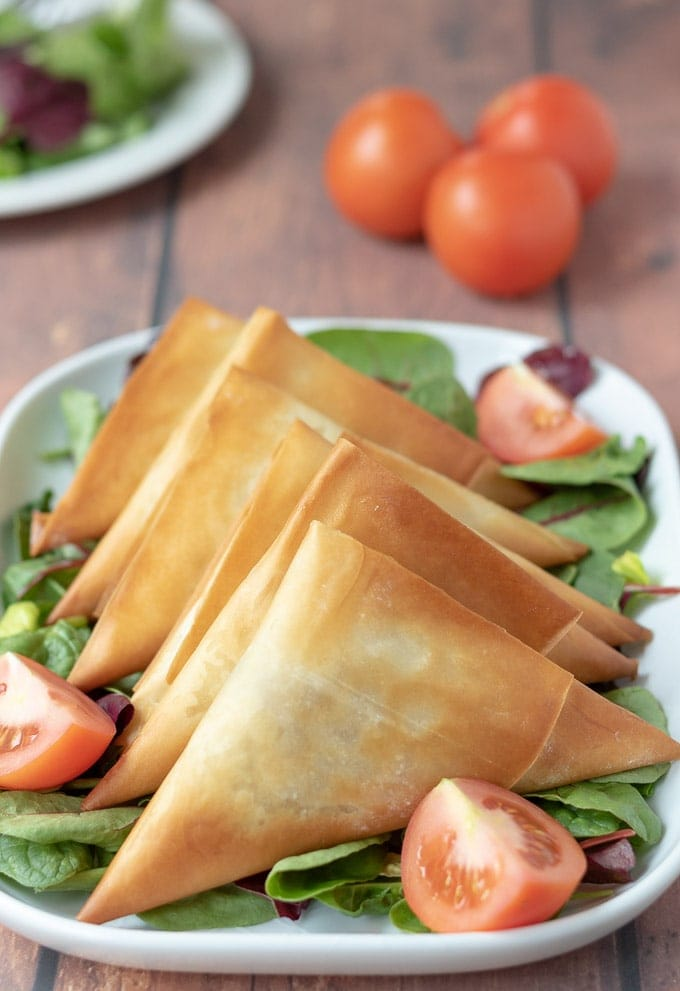 Serving dish of roast vegetable filo parcels garnished with salad.