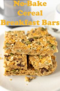 No-bake cereal breakfast bars stacked on a plate. Pin title text overlay at top.