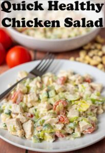 A plate of quick healthy chicken salad. Pin title text overlay at top.